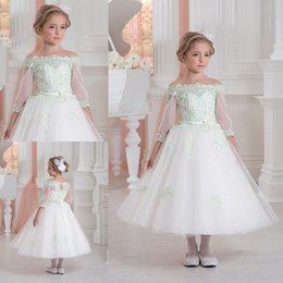 Wholesale Toddler Off White Lace Dress - 2017 Cute Toddler Flower Girls' Dresses Off Shoulders Half Sleeves Lace Appliques Tea Length First Communion A-line Girl's Pageant Dresses