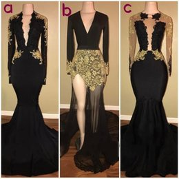 Wholesale Picture Photos - 2017 Black Prom Dresses Black And Gold Long Sleeve Formal Party Dress Mermaid Evening Gowns Real Photos