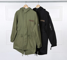 Wholesale Korean Fashion Man Military - 2016 Fashion Korean Hot Sale Men's Japan Jacket Overcoat Kanye West Black Green Long Military Style European Trench Coat Men