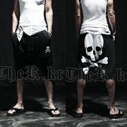 Wholesale Summer Skull Pants - Wholesale-New 2016 summer skull male Calf-Length printed pants Mens slim Hip hop Short Pants Mid trousers Active casual Loose harem pants