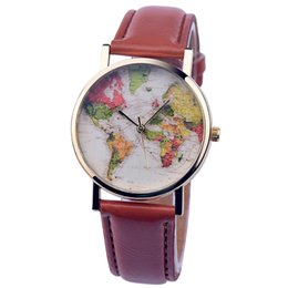 Wholesale Popular Maps - 2016 Brand New Popular World Map Watches Unique Designer Fashion Time Leather Straps Quartz Men Clock Dress Watches