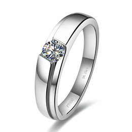 engagement platinum men ring UK - Wholesale Superb Quality 0.25CT Classic VVS1 Synthetic Diamond Ring For Men Engagement Jewelry 925 Sterling Silver In Platinum Plated Rings