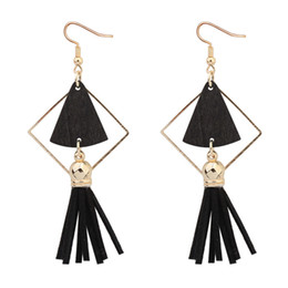 Wholesale Wood Earring Gift Box - Vintage Tassel Drop Earrings Big Triangle Wood Box Ethnic Charm Dangle Earring Gifts For Women Girl Fashion Jewelry Wholesale