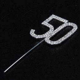 Wholesale Numeral Cake Toppers - Decent Diamante Dual Numeral 50 Monogram Cake Toppers for Wedding Birthday