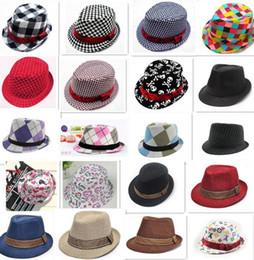 Wholesale Boys Cap Dandys - 50pcs 21 designs fashion Unisex casual fedora trilby hat Baby kids children's Caps accessories hat dandys Jazz cap D783