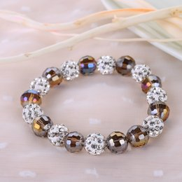 Wholesale Disco Magnetite - Fashion 10MM Disco Magnetite Ball Beads Macrame Clay Crystal Bracelet Friendship Disco Ball Brecelets