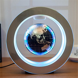 "Wholesale Wholesale Floating Frames - Magnetic Floating Globe 6''Circular Frame Rotating Levitating Globe ""O"" Shape Anti-Gravity Colorful LED World Map Fashion Holiday Gifts"