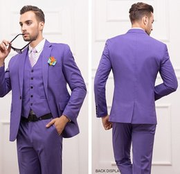 Wholesale Center Purple - Slim Fit Groomsmen Purple Groom Tuxedos Notch Lapel Center Vent Men's Suit One Button Best Man Wedding Dinner Suits (Jacket+Pants+Vest) J886