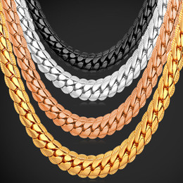 "Wholesale gold wedding anniversary - 18K Real Gold Plated Necklace With ""18K"" Stamp Men Jewelry Wholesale New Trendy Chunky Snake Chain Necklace 18''-26'' N739"