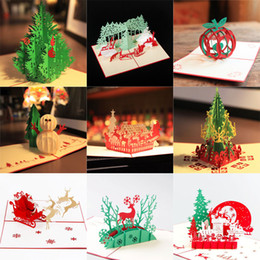 Wholesale Vintage Christmas Greeting Cards - 15 styles lots wholesale Christmas Greeting Card 3D Handmade Xmas Gift Stationery Card Vintage Retro Pierced Post Greeting Cards