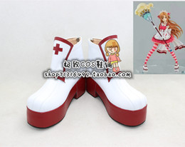 Wholesale Asuna Shoes - Wholesale-Sword Art Online Asuna Yuuki sweet miad ver heavy sole Cosplay Boots shoes shoe boot #NC969 Halloween Christmas