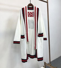 Wholesale Computer Sleeves - 2017 Brand Same Style Cardigan Long Sleeve Embroidery Sequins Crew Neck Striped Wool Blend Fashion Black white Green YB