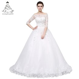 Wholesale Married Pictures - Lovely dress888 Lace up Wedding Dresses Half sleeve The Bride Married Lace Half Sleeve Court Train Boat Neck Elegant Wedding