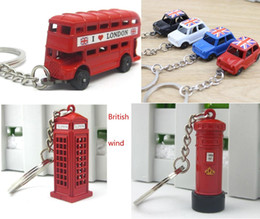 Wholesale Mailbox Wholesalers - Classic British red phone booth, a double-decker bus, taxi, the mailbox keychains model alloy key ring creative key chain