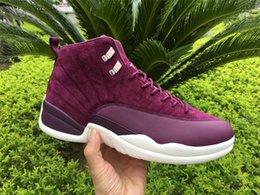 Wholesale Men S Shoes Size 13 - Air Retro 12 Bordeaux Men Basketball Shoes Men's 12'S Sneakers Real Carbon Fiber Gren Purple Shoes Size US7-13 With Original box