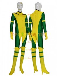 Wholesale Yellow Catsuit Xs - Rogue X-Man Green and yellow Super Hero Lycra Spandex Catsuit No Hood Halloween Party Cosplay Zentai Suit