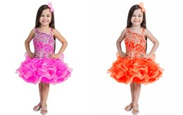 Wholesale Toddler Occasion Dresses - Crystal Beaded Organza Ruffled Cupcake Infant Girls Pageant Dresses Ball Gowns Flower Girls Short Dress Formal Occasion Toddler Mini Skirt