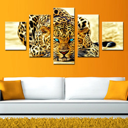 Wholesale Canvas Decors - 5 Picture Combination Abstract Leopards Modern Home Wall Decor Canvas Picture Art HD Print Painting The Pictures For Home Decor