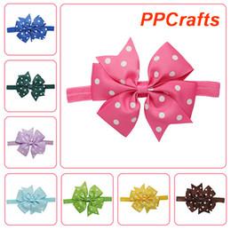 "Wholesale Dots Printed Grosgrain Ribbon - PPCrafts 4"" Kid's Dot Printed grosgrain Ribbon Bow with Elastic Headband Ribbon for Girl's Hair Wear 20 Color 10pc lots per color HA-EB01A-1"