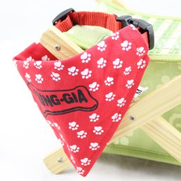 Wholesale Small Cute Scarf - 3 Sizes Adorable Quality cute foot pattern Puppy Lovely Neckerchief Pet cat Dog Scarf Collar Bandana WA0768