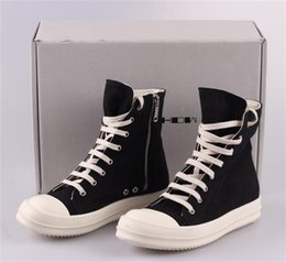 Wholesale High Heel Sneakers Yellow - RO 15SS DRKSHDW Upgraded Version Owens Men's Women's Canvas High Top Sneakers Genuine Leather Shoes Casual Oiled Canvas Boots Free EMS DHL
