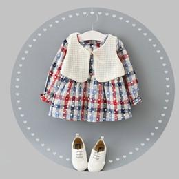 Wholesale Long Tutu Dresses Children - Autumn Winter Children Dress Kids Girls Long Sleeve Dress+White Vest 2PCS Kids Flower Clothing 4 s l