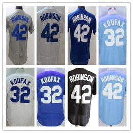 Wholesale Vintage Patches - Jackie Robinson Jersey 1955 Vintage Cooperstown Hall Of Fame & Dual Patch Stitched Sandy Koufax Los Angeles Baseball Jerseys