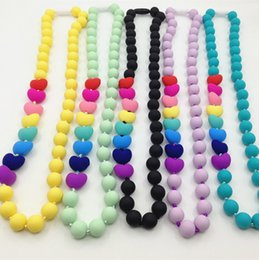 Wholesale China Silicone Beads - Food grade Silicone Teething Necklace with heart beads baby chew necklace Nursing necklace wholesale silicone necklace teether