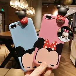 Wholesale Silicone Duck - Lovely Lady Cute 3D Cartoon Mickey Minnie Winnie Duck Bear Daisy Soft TPU Silicon Case for iPhone 8 7 6 6S Plus Cover Coque