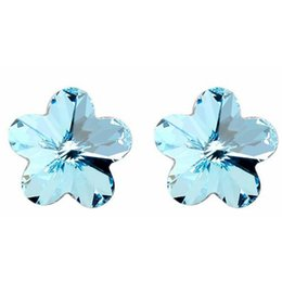 Wholesale Swarovski Elements Hearts - 10mm Flower Earings Fashion Jewelry Crystal from Swarovski Elements Romantic Stud Earrings For Women Anniversary Gift White 1210