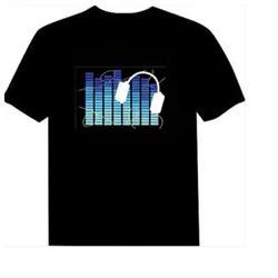 Wholesale El Sound Shirt - 2017 Hot Sell Sound Activated LED T-Shirt For Men, Women,Kids Flashing EL Light Up Customized Manufactured is Available