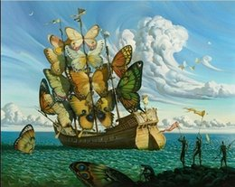 Wholesale Famous Figure Paintings - Framed Vladimir Kush,The winged ship' Fantasy, Surreal,Pure Handpainted Famous Abstract Wall Art Oil Painting On Canvas Various Sizes Ab95