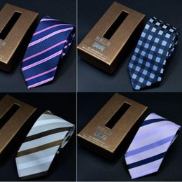 Wholesale Necktie Packaging - Nano Waterproof NeckTies 1200 Knitted Neck Tie 145*7cm 19 Colors with Box packaging stripe NeckTie High quality Leisure Arrow Men's Nec