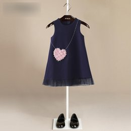 Wholesale Love Matching Clothes - Girls Dresses Kids Suspender Faux Love-heart Pocket Dress Kids Girls Autumn Winter All-match Tulle Dress Children Princess Clothing G1194