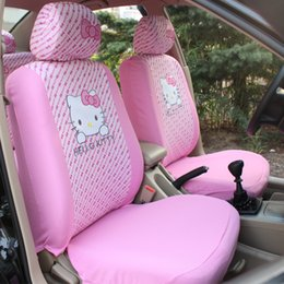 Wholesale Car Seat Cover Sets Pink - Free Shipping 1set 10pcs Cute Cartoon Hello Kitty Head Bow Comfortable Pink Car Seat Covers Car Accessories