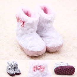 Wholesale Warm Furry Boots - 2016 New Winter Baby Boots Furry Warm Pink or Gray Fur Upper Bowknot Hook & Loop Baby Girl Shoes Soft Sole