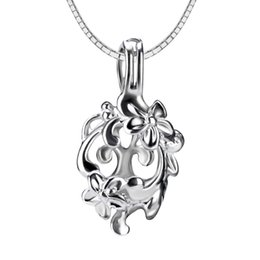 Wholesale Pendant Flowers - 3pcs flower shape sterling silver cage pendant 12*8*22mm Fashion Charm Jewelry