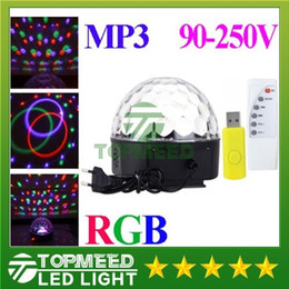 Wholesale Magic Crystal Ball Led Remote - DHL RGB MP3 Magic Crystal Ball LED Music stage light 18W Home Party disco DJ party Lights lighting + U Disk Remote Control lamp