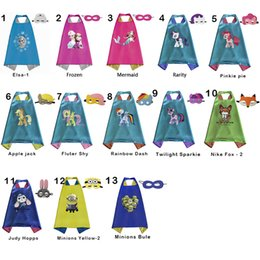 Wholesale Cosplay Minions - Double side kids Superhero Cartoon Capes with masks - Little Pony Anna Elsa mermaid Minions Zootopia Judy kids Capes Cosplay Party supplies