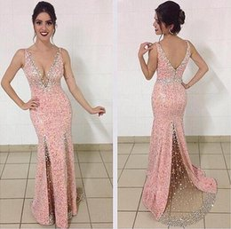 Wholesale Charming Beaded Mermaid - 2017 Custom Made Sexy V-neck Mermaid Charming Evening Gowns Floor Length Zipper Tulle Beaded Sequins Prom Dresses