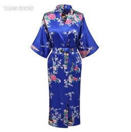 Wholesale Plus Satin Pajamas - Wholesale- New Arrival Blue Women Satin Kimono Bath Gown Lady Summer Sexy Robe Nightgown Flower Pajamas Plus Size S M L XL XXL XXXL WR053