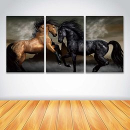 Wholesale horse art canvas set - 3 Panel Set Wall Art Brown Black Horse Prints Canvas Painting Animal Picture for Home Decoration Living Room Bedroom Artwork