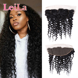 Wholesale Pcs Parts - Malaysian Virgin Hair 13X4 Kinky Curly Lace Frontal With Baby Hair Curly Pre Plucked 50-80g pcs From Leila