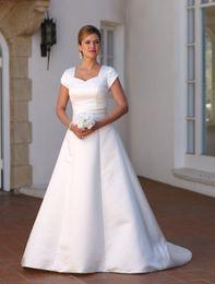 Wholesale Mature Corset - Vestido de Noiva A-line Simple Satin Vintage Modest Wedding Dresses 2016 Cap Sleeves Mature Women Second Wedding Dresses Elegant Corset Back