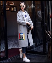 Wholesale Wollen Coats - 2016 Zmari Winter New Style Lady Single Button Outerwear Winter Wollen Coat Fur Trim Parka Jacket