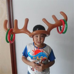 Wholesale Kids Reindeer Antlers - Inflatable Reindeer Antler Ring Hat Toss Game Toy for Children Kids Christmas Decoration Holiday Party Game Supply Christmas Gifts