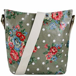 Wholesale Oilcloth Flower - Wholesale- Miss Lulu Women Men Butterfly Polka Dots Flower Dog Oilcloth Cross Body Shoulder Messenger School Satchel Bag L1425