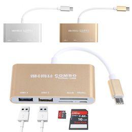 USB-C OTG Hub, USB-C USB 3.0 + USB 2.0 + TF / SD / MicroSD Kart Okuyucu + Mikro USB - Macbook Pro için Alüminyum Adaptör Konektör Kablosu / ChromeBook / nereden