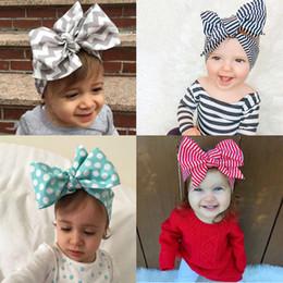 Wholesale wholesale chevron baby headbands - Lovely bowknot Headband chevron striped baby Hair Head Band Cotton Bow Knot Headband pure color infant rabbit babies hair accessories