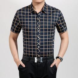 Wholesale Men S Double Collar Shirts - Wholesale-Mens Dress Shirts Business Plaid Short Sleeves Turn-down Collar Double Mercerized Cotton Men Shirt Camisa Masculina Size M-XXXL